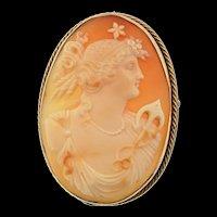 Victorian 12K CAMEO Anchor of Hope Roman Goddess Laetitia Pendant Brooch Pin19g
