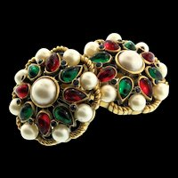 Vintage Philippe TRIFARI Jewels of India Moghul Pearl Rhinestone CLIP EARRINGS