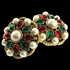 Vintage Philippe TRIFARI Jewels of India Moghul Pearl Rhinestone CLIP EARRINGS