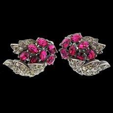 Vintage Philippe TRIFARI Fuchsia & Blk Diamond Rhinestone Clip Earrings