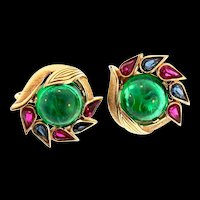 Philippe TRIFARI Jewels of India Emerald Glass Cabochon Rhinestone CLIP EARRINGS