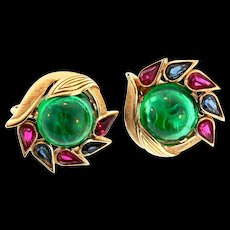 Philippe TRIFARI Jewels of India Emerald Glass Cabochon Rhinestone CLIP EARRINGS