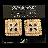 NOS Swan SWAROVSKI Jewelers Collection Multi-Color Crystal Gem Clip Earrings