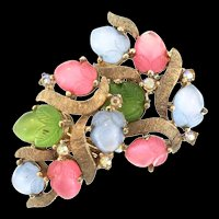 Vintage TRIFARI Molded Triple-Color Glass Fruit Salad Clip EARRINGS