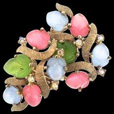 Vintage TRIFARI Molded Triple-Color Glass Fruit Salad Clip EARRINGS