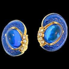 TRIFARI L'Orient Snakeskin Sapphire Cabochon Enamel Rhinestone Clip EARRINGS