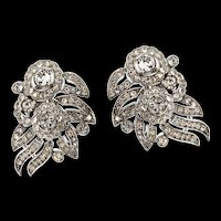 Vintage Philippe TRIFARI Empress Eugenie Crystal Rhinestone Floral CLIP EARRINGS