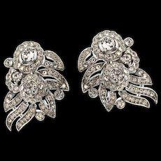 Vintage Philippe TRIFARI Empress Eugenie Crystal Rhinestone Floral CLIP EARRINGS