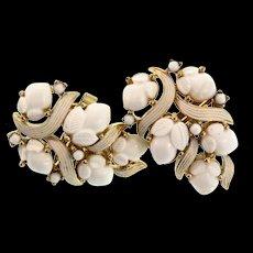 Vintage TRIFARI Molded White Milk Glass Fruit Salad White Enamel Clip EARRINGS