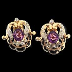 1940s Philippe TRIFARI Empress Eugenie Amethyst Glass Rhinestone CLIP EARRINGS
