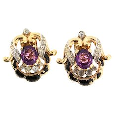 1940s Philippe TRIFARI Empress Eugenie Amethyst Glass Rhinestone CLIP EARRINGS