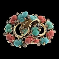 1940s Philippe TRIFARI Tri-Color Fruit Salad Rhinestone Horseshoe CLIP EARRINGS