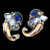 Vintage Philippe TRIFARI Sterling Sapphire Cabochon Cornucopia Clip EARRINGS