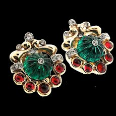 Vintage Philippe TRIFARI Scheherazade Moghul Rhinestone Clip EARRINGS