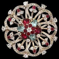 Vintage CORO CRAFT Sterling Vermeil Ruby Aqua Crystal Rhinestone Pinwheel Brooch Pin