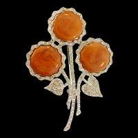 Vintage Large BAKELITE Rhinestone Flower Floral Figural Pin Brooch