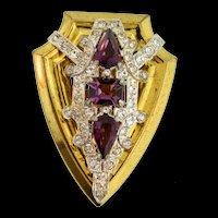Vintage Art Deco Mcclelland Barclay Amethyst Rhinestone Shield Pin Dress Clip Brooch