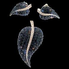 Vintage German Sterling INVISIBLE SET Sapphire Rhinestone Leaf Figural Earrings Pin SET