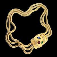 Vintage TRIFARI Kunio Matsumoto MOGHUL Snake Chain Rhinestone Clasp NECKLACE