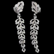 Vintage JOMAZ Mazer Long Pave Crystal Rhinestone Dangle CLIP EARRINGS