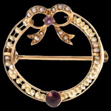 Antique Victorian 10K Gold Amethyst Ruby Seed Pearl Circle Ribbon Petite Pin
