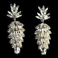 Rare 1966 CHRISTIAN DIOR Germany Futuristic Crystal Marquise Dangle EARRINGS