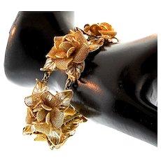 Exquisite Vintage Italian Vermeil 800 Silver Filigree FLOWER Floral Bracelet