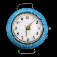Vintage Guilloche Enamel STAUFFER Swiss Silver WATCH Pendant