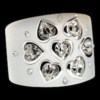 CHRISTIAN DIOR Heart Crystal Rhinestone Wide Resin CUFF Bracelet ~ WHITE ~