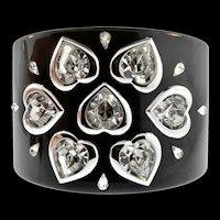 CHRISTIAN DIOR Heart Crystal Rhinestone Wide Resin CUFF Bracelet ~ BLACK ~