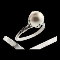 Art Deco J. Schnelwar & Sons SPM South Seas Pearl Platinum RING Sz 6.75