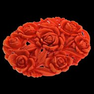 Vintage Large Carved Pierced Coral Celluloid Plastic Roses Floral Flowers Brooch Pin