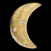 Vintage CHRISTIAN DIOR Goldplated Rhinestone Crescent Moon Figural Brooch Pin