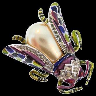 Vintage CORO Perfume Metallic Enamel Rhinestone Pearl BEETLE Bug Figural Pin Clip