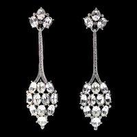 "Vintage Trifari ART DECO Style Rhinestone Long 3"" Statement Clip Dangle Earrings"