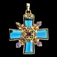 "Vintage Massive 4"" JOSE BARRERA Rhinestone Glass Bead Maltese Cross Figural Pendant"