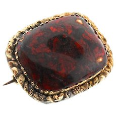 Antique Victorian 9K Gold Red Jasper Tube Hinge Pin Pendant