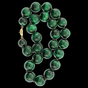 """Vintage Heavy MONET Genuine MALACHITE 15mm Bead Necklace 17.5"""" 173g Individually Knotted"""