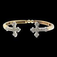 Vintage CRUCIFIX Cross Fleur De Lis Rhinestone Bypass Bangle Wire Bracelet