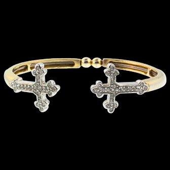 Vintage CRUCIFIX Cross Fleur De Lis Rhinestone Bypass Bangle Wire Bracelet
