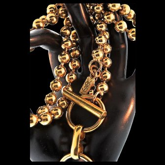 Vintage 1970s Couture YVES SAINT LAURENT YSL Gold Ball Bead Chain Belt Necklace