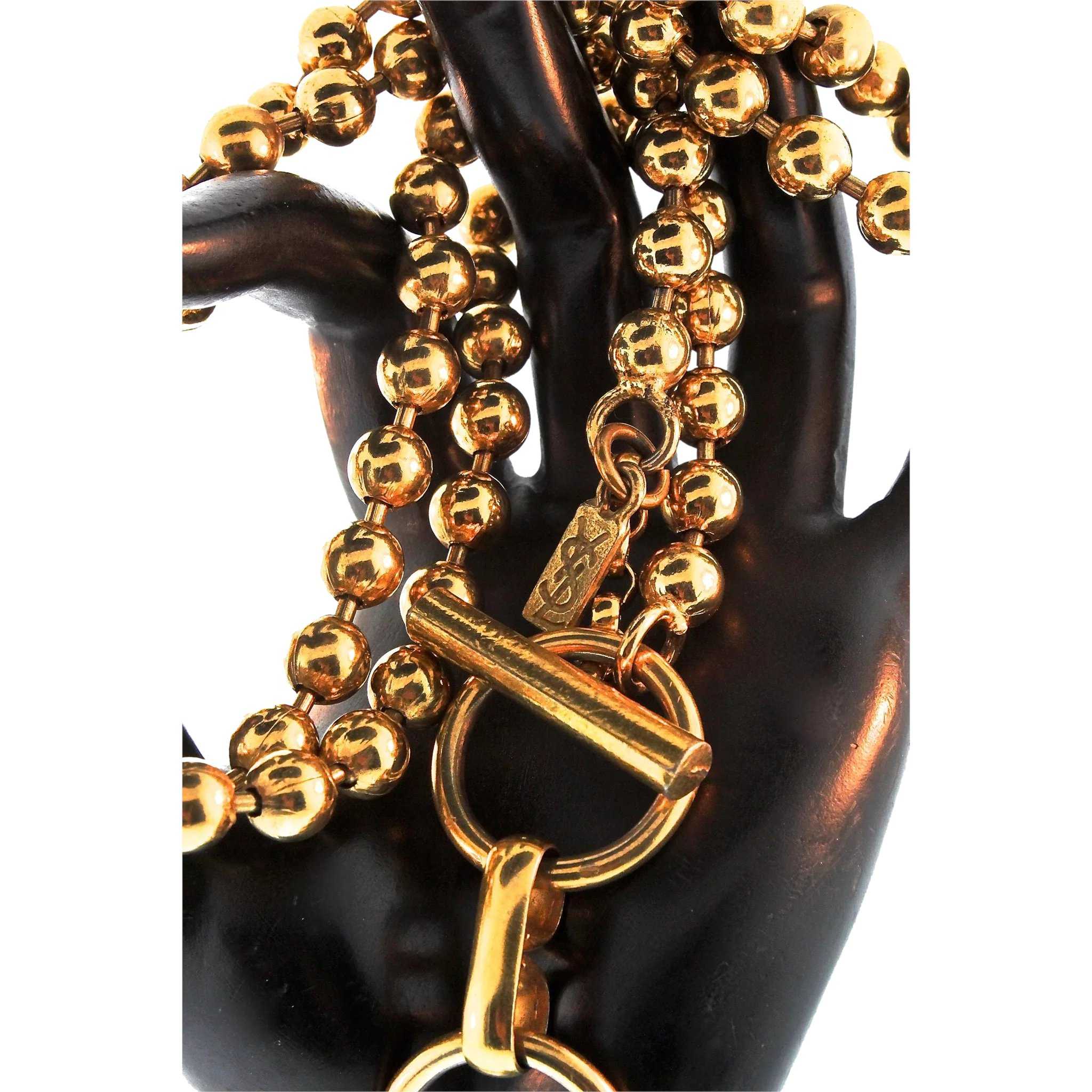 b9b90ea7c33 Vintage 1970s Couture YVES SAINT LAURENT YSL Gold Ball Bead Chain Belt :  The Dealhuntress Treasure Chest | Ruby Lane