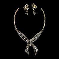 Vintage Art Deco Germany Sterling Marcasite Cultured Pearl NECKLACE & EARRINGS Set