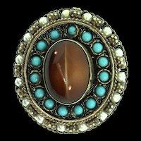 Vintage ISRAEL Judaica Sterling 925 Turquoise Fibrolite Filigree Brooch Pin Pendant