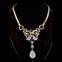 1950s Philippe TRIFARI Claire De Lune Rhinestone Glass Moonstone Drop Necklace