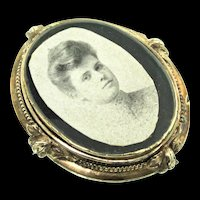 Vintage Victorian Gold Filled GF Photo Frame Pin Brooch Pendant with Glass