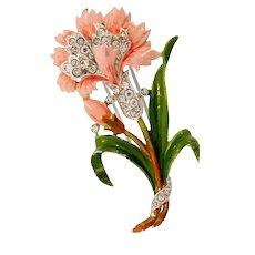 Vintage 1940 Philippe TRIFARI Enamel Carnation Flower Figural Rhinestone Fur Pin Clip