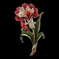Vintage 1940 Philippe TRIFARI Enamel Carnation Flower Figural Rhinestone FUR CLIP Pin