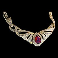 Vintage CHRISTIAN DIOR Ruby Red Teardrop Glass Rhinestone Goldplated Necklace