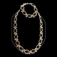 Stunning Vintage CHRISTIAN DIOR Black Glass Rhinestone Necklace & Bracelet SET